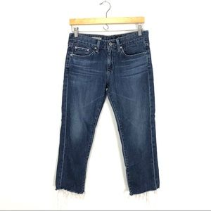 AG Jeans Piper Slouchy Slim Crop Frayed Hem 27 A8